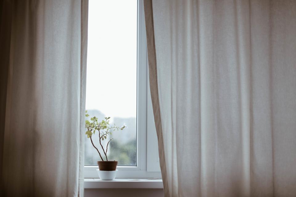 window curtains plant vase decor bedroom sleep