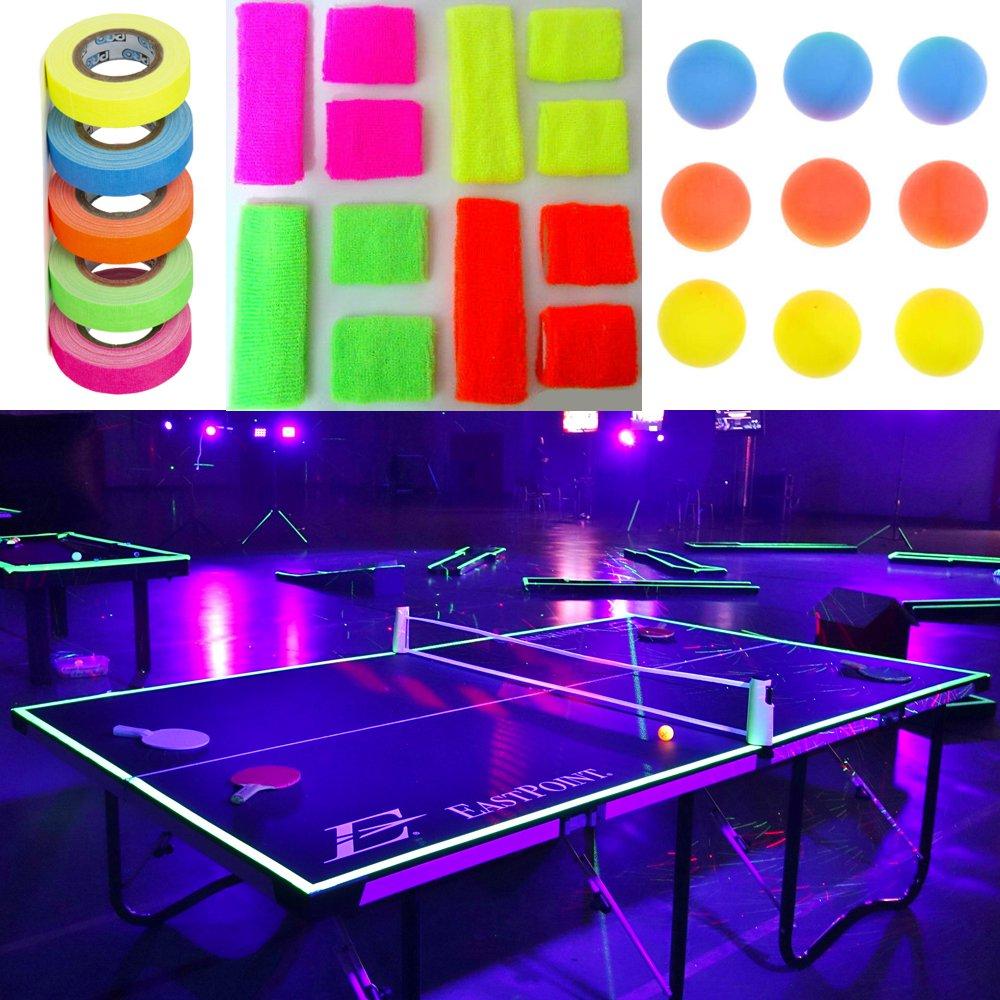 uv reactive glow sports uv sports fluorescent table tennis ping pong kit