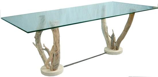 table basse verre sur pieds bois flotte