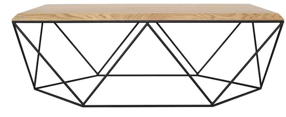 table basse design bois clair et metal