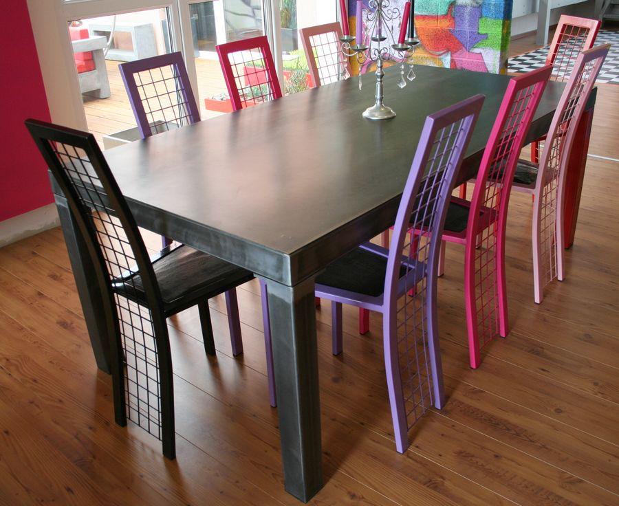 table a manger industrielle metal brut