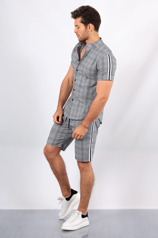 ensemble chemise short carreaux 3379