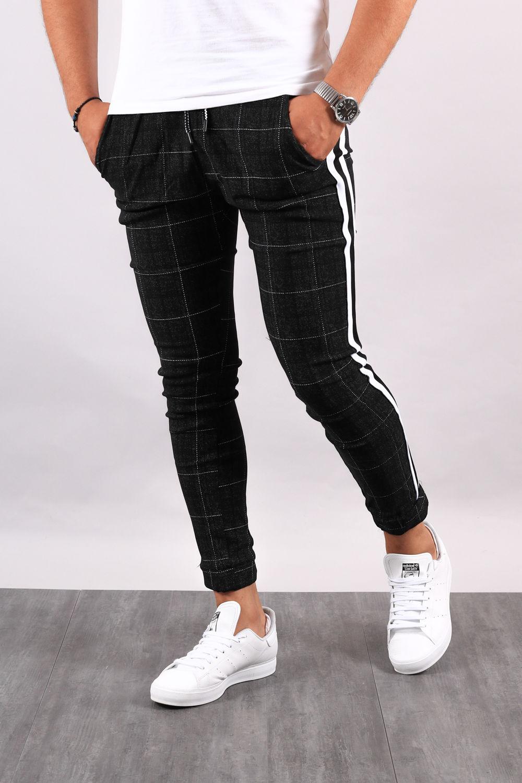pantalon homme carreaux noir avec bande nb 239