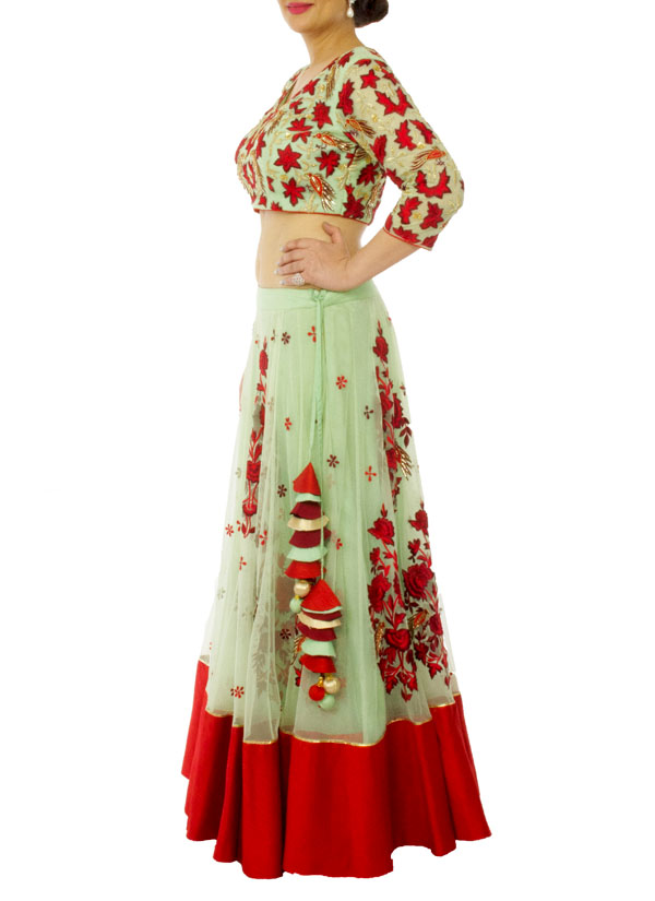 Neehara Mint Green And Red Lehenga Set Shop Lehengas