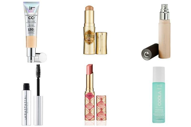 Here are the products you need for a naturally flawless complexion. The IT Cosmetics CC Cream is $38, the Hoola cream bronzer is $28, the Becca liquid highlighter is $41, the Anastasia Beverly Hills clear brow gel is $22, the Tarte sheer lip tint is $19 and the COOLA setting spray is $36. Images: Sephora