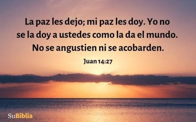 La paz les dejo; mi paz les doy. Yo no se la doy a ustedes como la da el mundo. No se angustien ni se acobarden. (Juan 14:27)