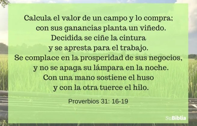 Proverbios 31:16-19