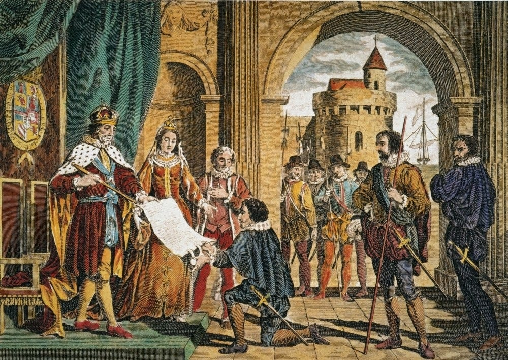 Christopher Columbus Nbeing Given The Sailing Commission By King Ferdinand And Queen Isabella ...