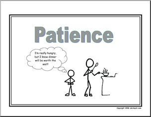 Poster: Life Skills - Patience (stick figure)   abcteach