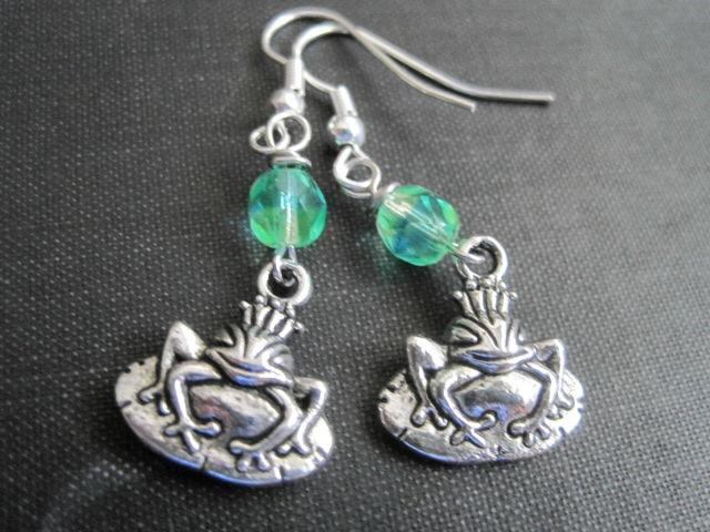 Frog Prince Fairytale Dangle Earrings Vamps Jewelry
