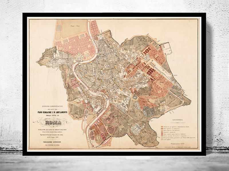Vintage Map of Rome Roma  Italia 1883 Antique map of Rome   OLD MAPS     Vintage Map of Rome Roma  Italia 1883 Antique map of Rome   product image