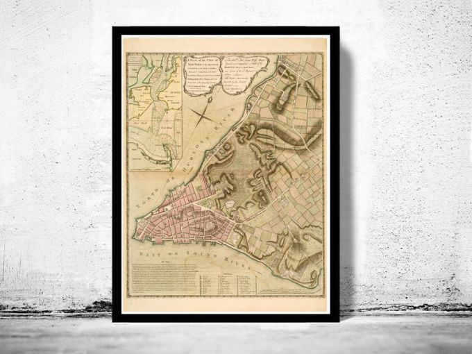 Old Map of ancient New York and Manhattan  1775   OLD MAPS AND     Old Map of ancient New York and Manhattan  1775   product image