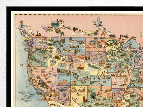 HD Decor Images » Vintage Map of United States America  Recreational Touring   Travel     Vintage Map of United States America  Recreational Touring   Travel Map  1928   product image