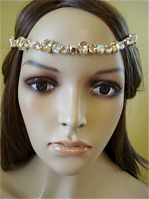 Rose Gold Crystal Bridal Brow Band Headband The