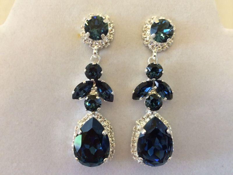 Navy Blue Swarovski Crystal Embellished Teardrop Dangle