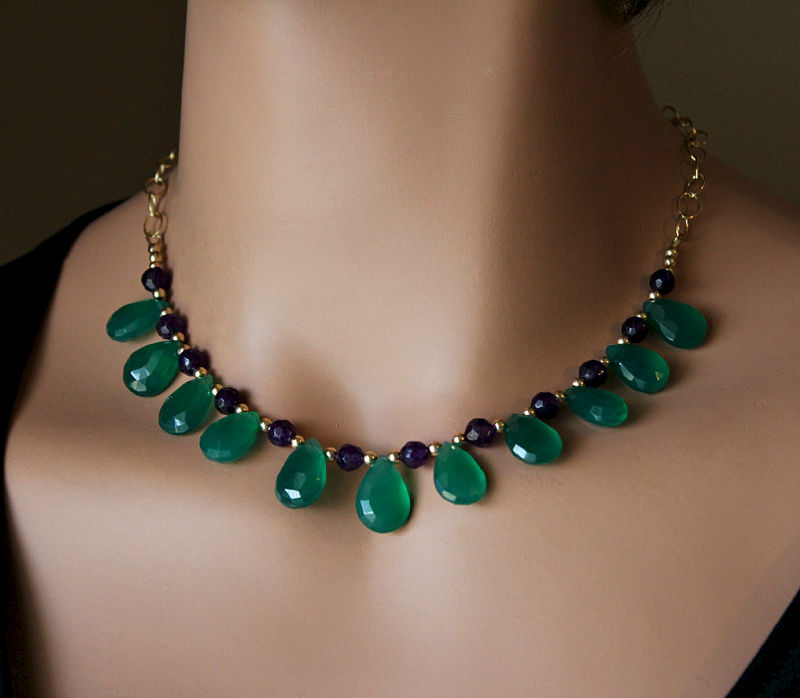 Green Onyx And Amethyst Necklace Emerald Green Green