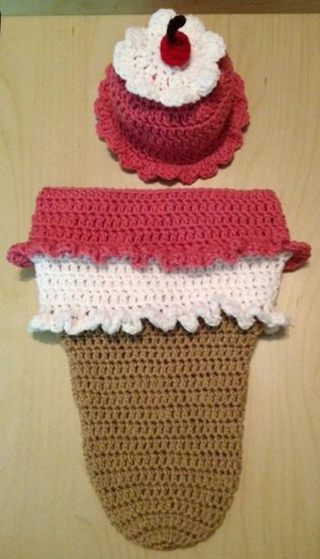 Crocheted Ice Cream Cone Sundae Cocoon With Matching Hat