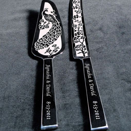 Personalized Peacock Wedding Cake Server   Knife Set   Brad Goodell         Personalized Peacock Wedding Cake Server   Knife Set   product images
