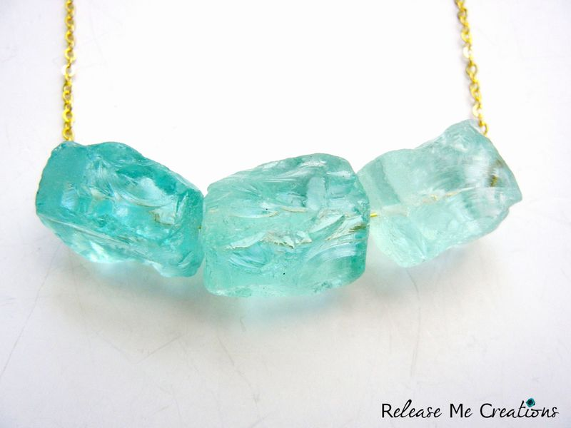 Rare Raw Blue Ice Quartz Crystal Gold Necklace Release