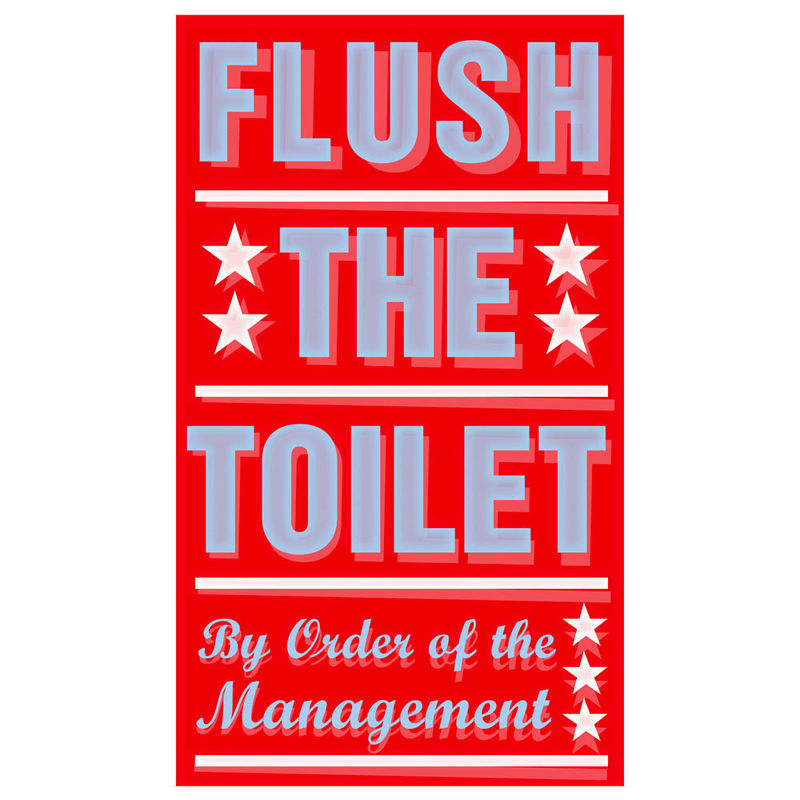"bathroom art for kids- flush the toilet print 6"" x 10"" wall art"