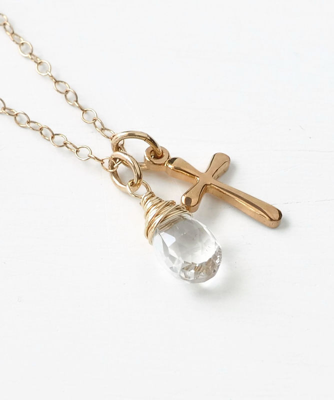 Small Gold Filled Cross Necklace With Birthstone For April