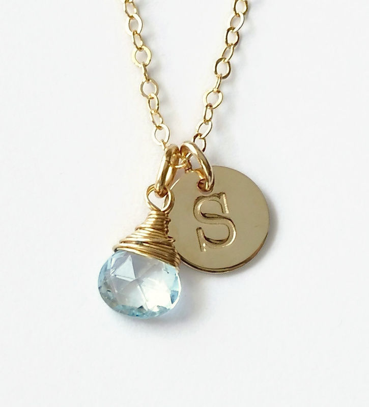 Gold Initial Necklace With December Birthstone Blue Room