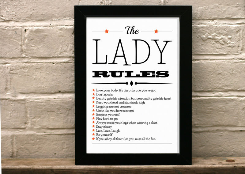 Rules To Being A Lady The Lady Rules 21st Birthday