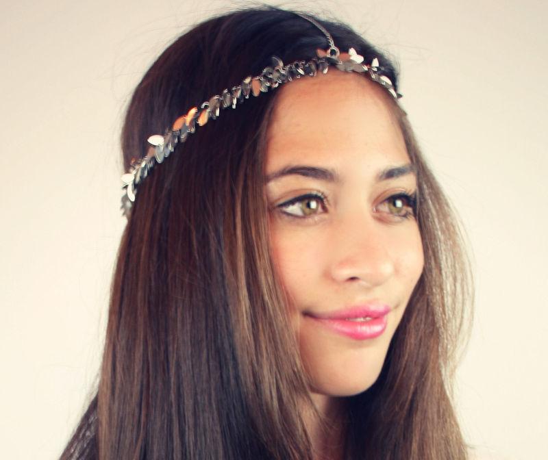 CHAIN HEADPIECE Chain Headdress Head Chain Silver Leaf