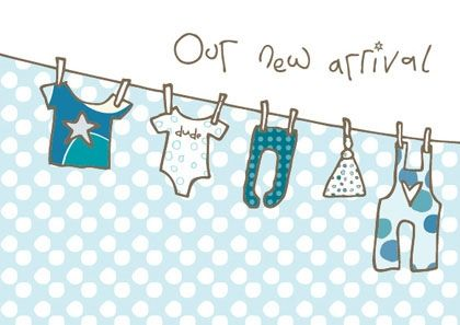 Pack Of 8 New Baby Boy Announcement Cards Karenza Paperie