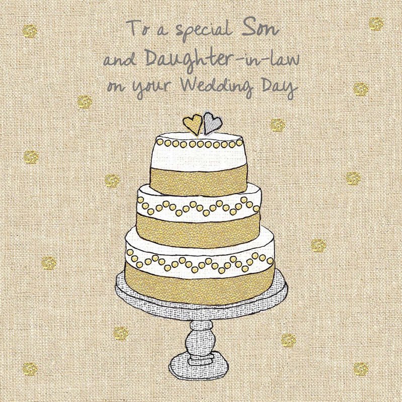 Son Amp Daughter In Law Wedding Cake Wedding Card Karenza Paperie