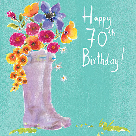Wellingtons Amp Flowers 70th Birthday Card Karenza Paperie
