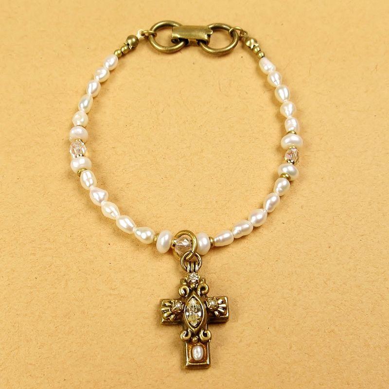 Michal Golan Small White Pearl Cross Beaded Bracelet
