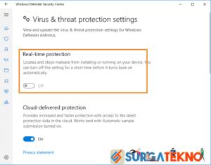 pilih off pada real time protection