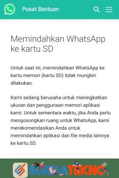 penjelasan pihak whatsapp bahwa aplikasi tidak bisa dipindah ke memori eksternal