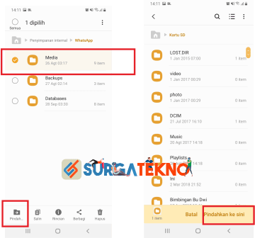 pindah folder file media whatsapp dari memori internal ke eksternal