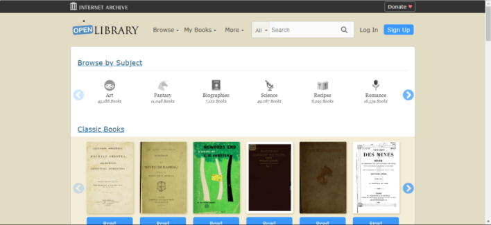 tampilan situs openlibrary