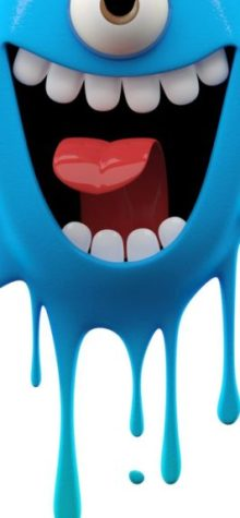 wallpaper tema smartphone poni - monster biru
