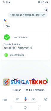 ucapkan kirim dan pesan akan terkirim secara otomatis melalui ok google