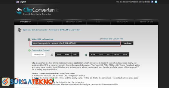 Masukkan Link Video Youtube di ClipConverter
