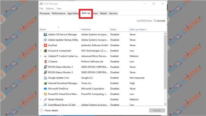 Aplikasi yang Berjalan ketika Booting Windows 10