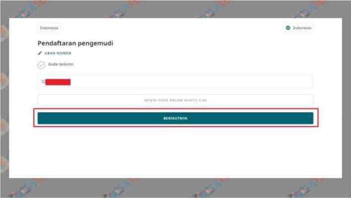Masukkan kode verifikasi pendaftaran driver maxim