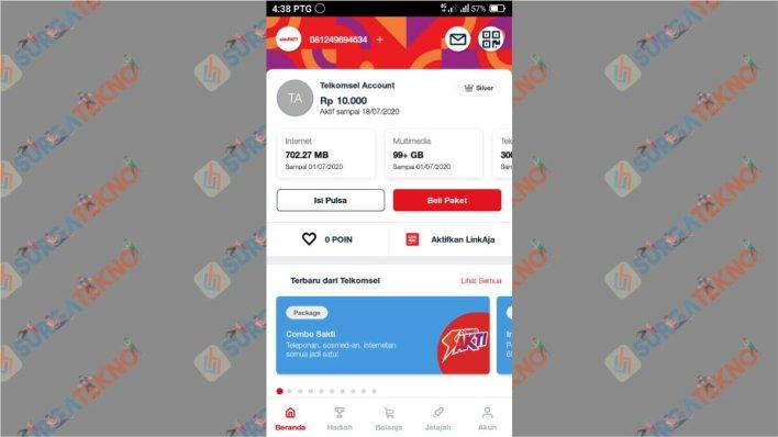 tap icon belanja pada beranda aplikasi Mytelkomsel
