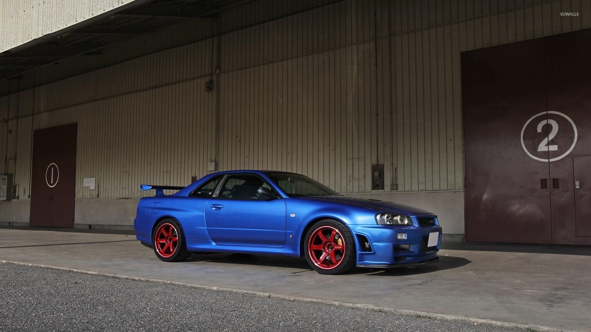 Blue Nissan Skyline Side View Wallpaper Car Wallpapers