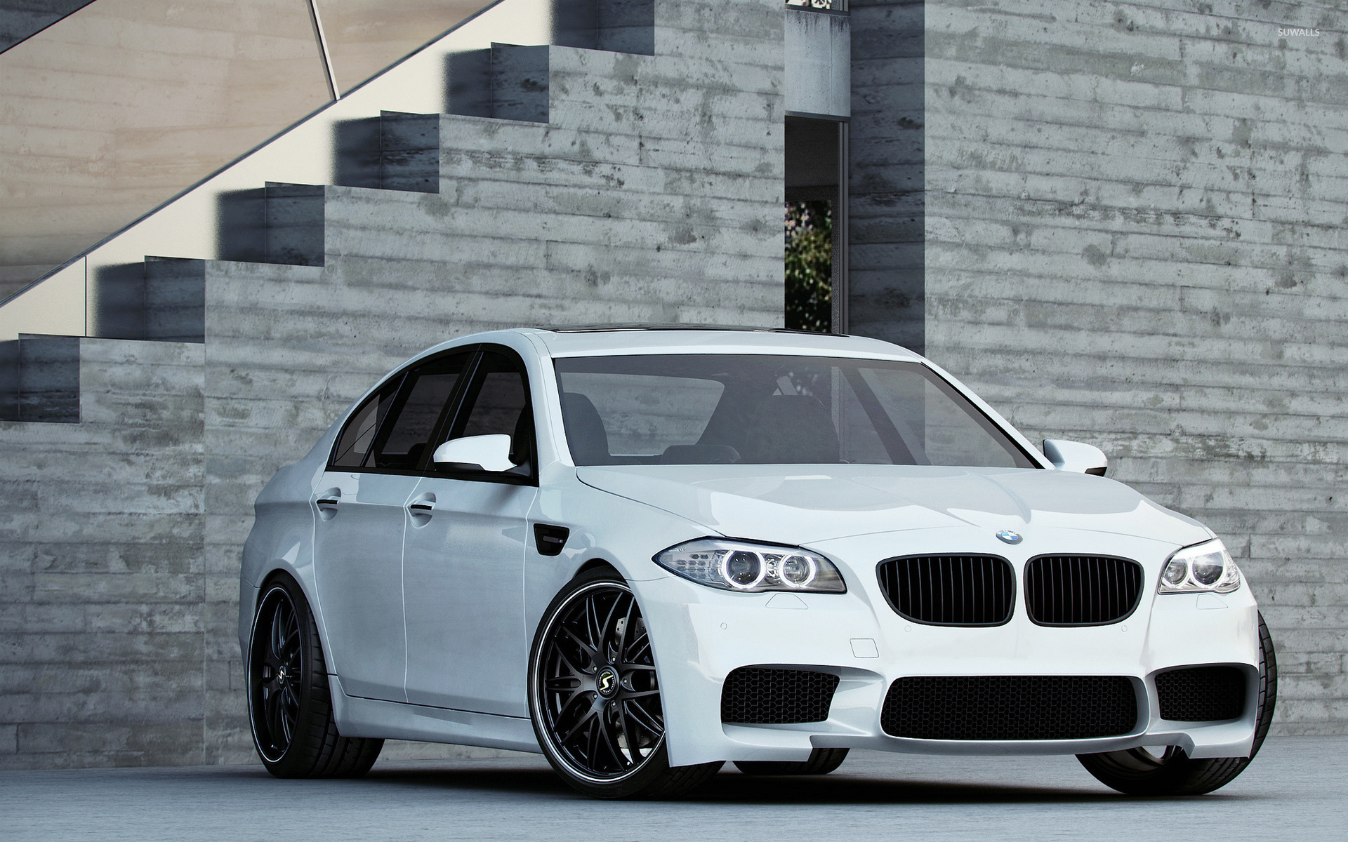 White BMW M5 Front Side View Wallpaper Car Wallpapers