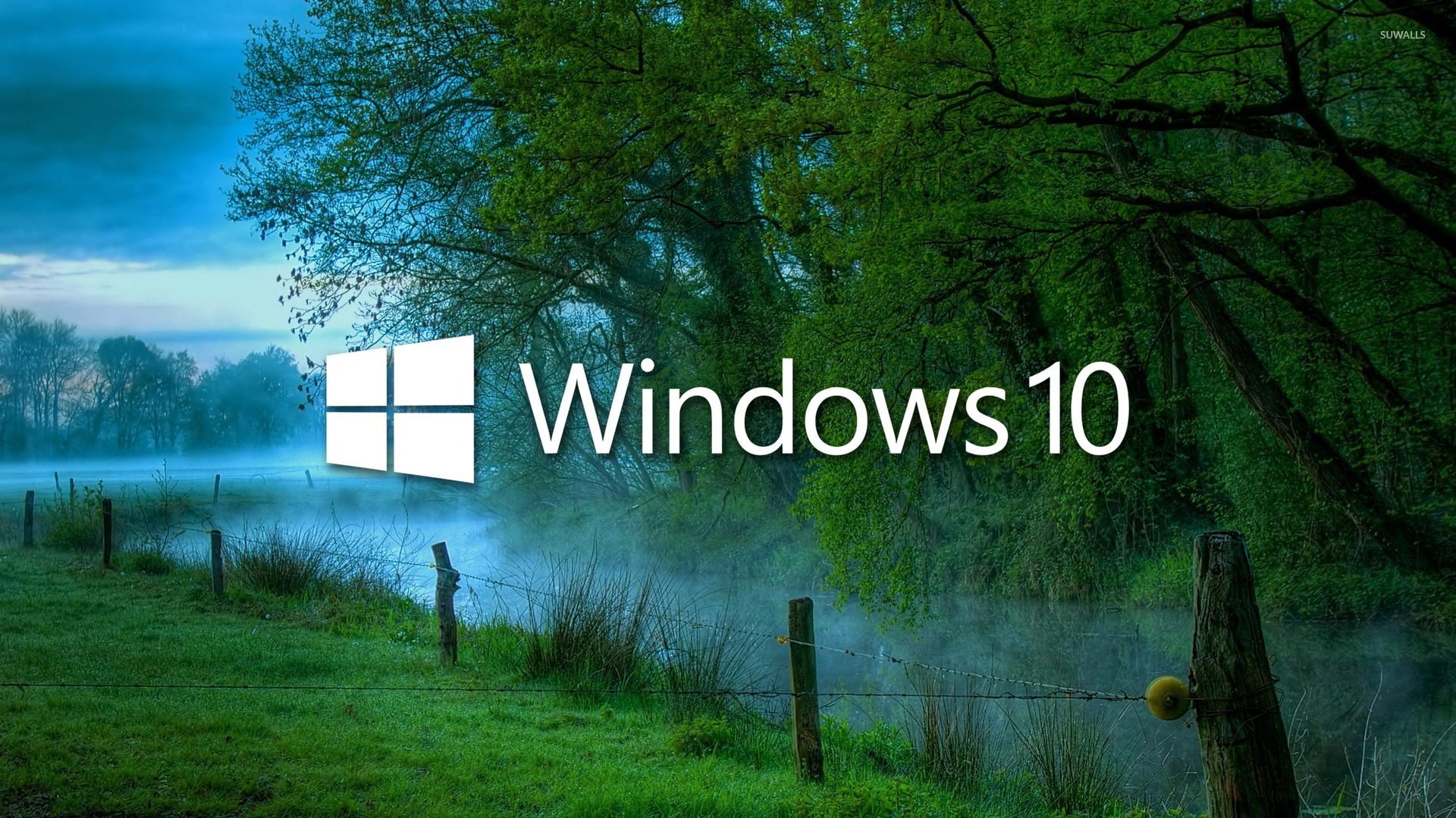 Windows 10 In The Misty Morning Logo With Text Wallpaper Computer Wallpapers 47635