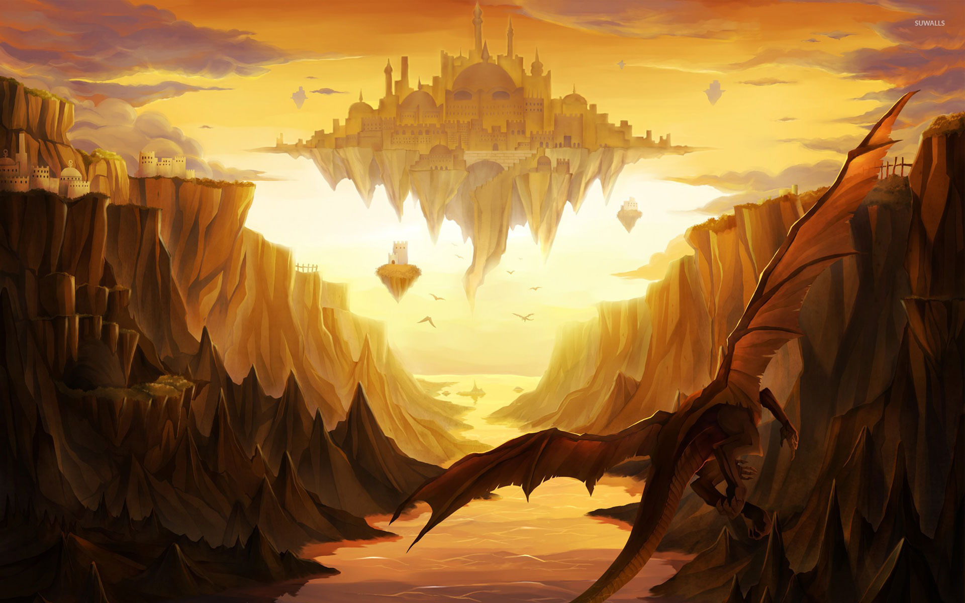 Dragons Around The Floating Castle Wallpaper