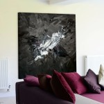 Grey And Black Abstract Art With Hints Of Red Original Canvas Wall Art