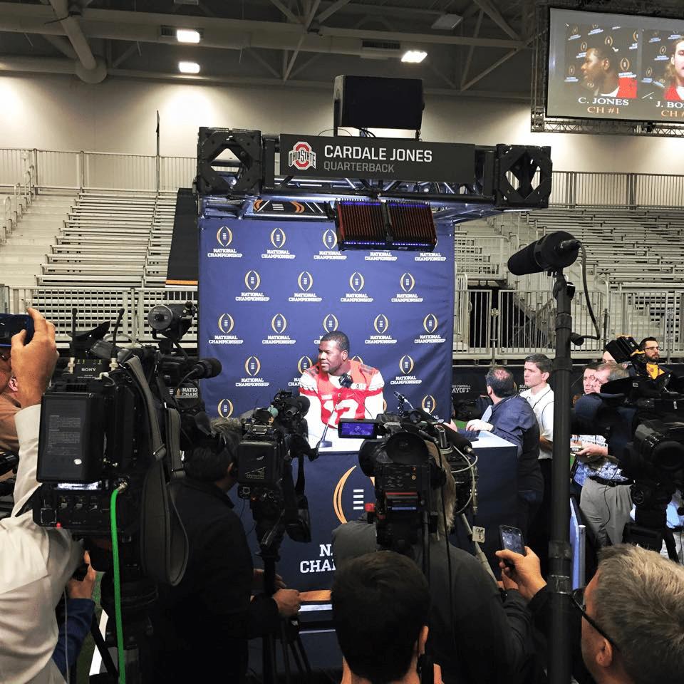 Ohio State QB Cardale Jones addresses the media.