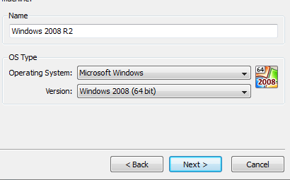 Install Windows Server 2008 R2 on VirtualBox