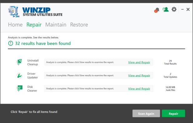 utilitaires système winzip logiciels de nettoyage PC gratuit pour Windows